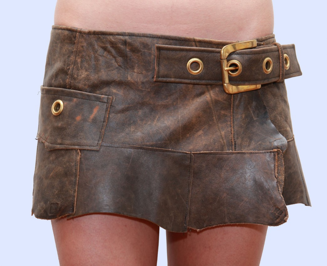 Brown leather mini skirt | B Barbarella